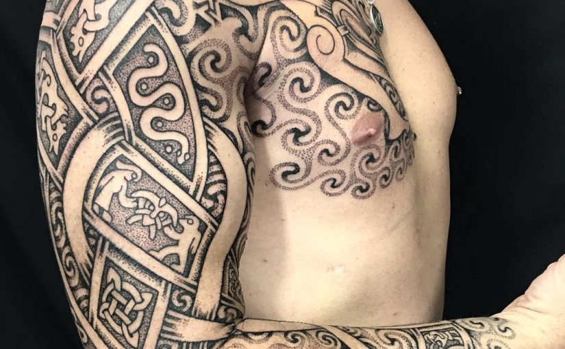 Celtic and norse tattoo by Sean parry of sacred knot viking la tene
