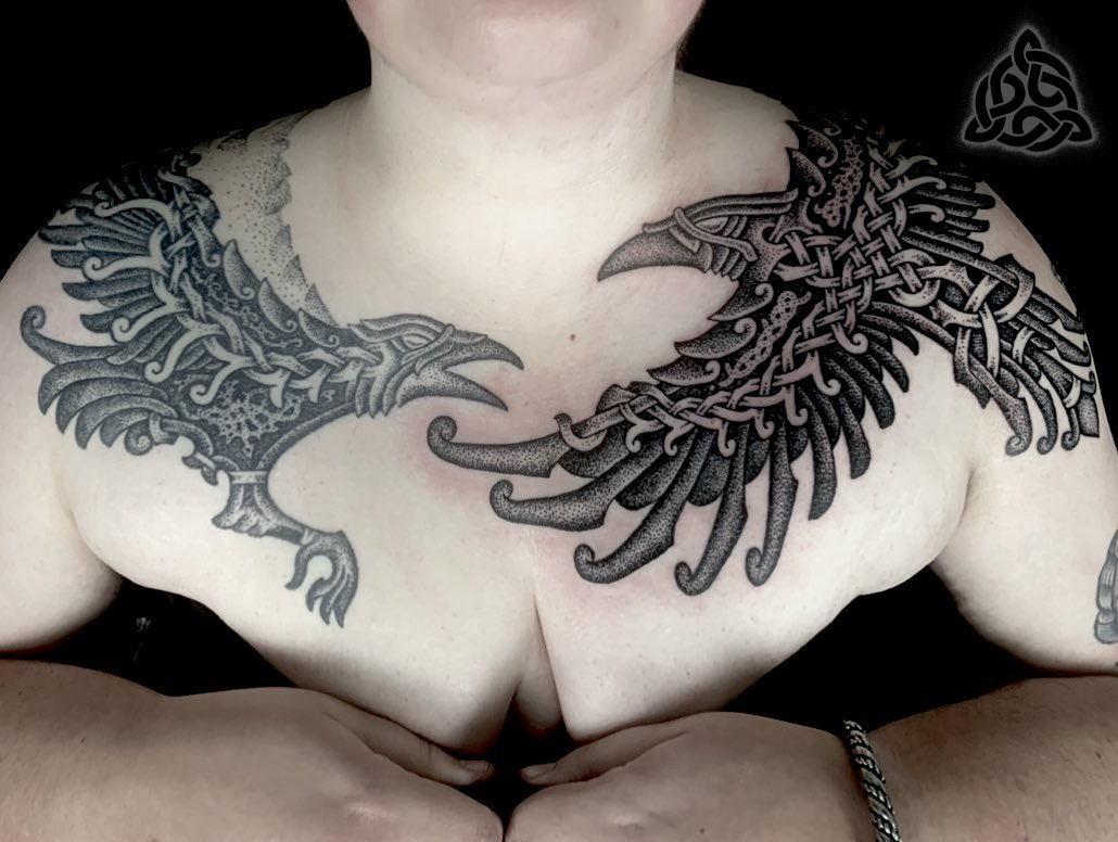 Hugin & Munin Raven tattoo by Sean parry of sacred knot